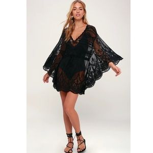 Boho Gypsy Beach Goddess Swim Cover Up Black